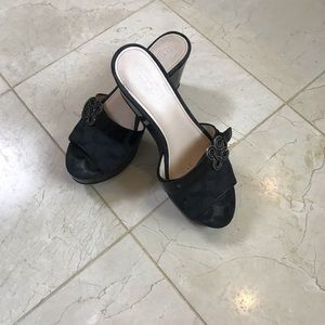 "Coach wedge sandal size 8 patent leather 3"" heel"